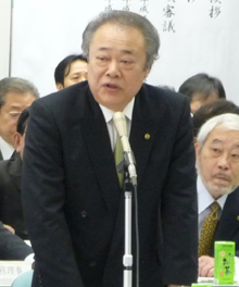 阪南問題について語る大森利夫理事著