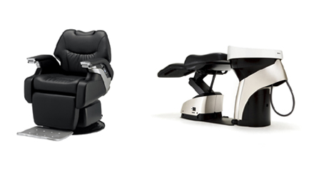 理容椅子「LEGEND―レジェンド―」と、シャンプーベッド「YUME ESPOIR-ユメ エスポワール-」