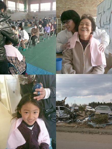 被災者に喜ばれたスピックのボランティア活動。右下は被災状況