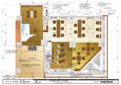 平面図の例です。工事の際に必要な設計図には、この図のような平面図の他、仕上表、照明器具配置図、電気配線図、展開図、家具ひとつひとつに詳細図などがあります。