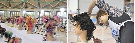 美容の作品(左)と理容職種の競技(会場はやまびこドーム)
