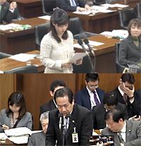 上西小百合議員(上)と矢島鉄也厚生労働省健康局長