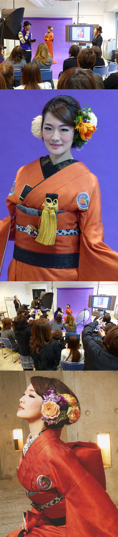 フォトメイキングの講座風景とフォトセッション用の作品。最上の写真・右が平山恵子さん。(会場は、美容会館6階)