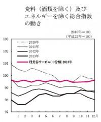 総務省統計局が発表したグラフに、理美容サービスの指数を追記(2013年の動向、赤色)