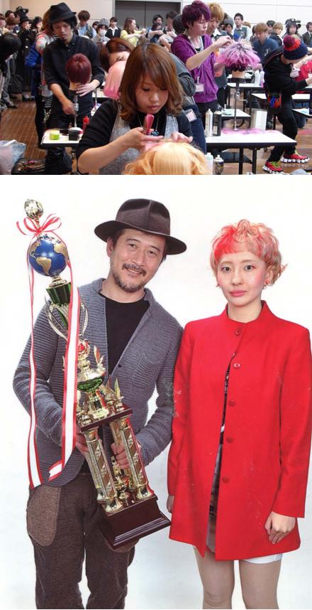 競技風景とカットモデル部門で優勝した真田和秀選手とモデルさん