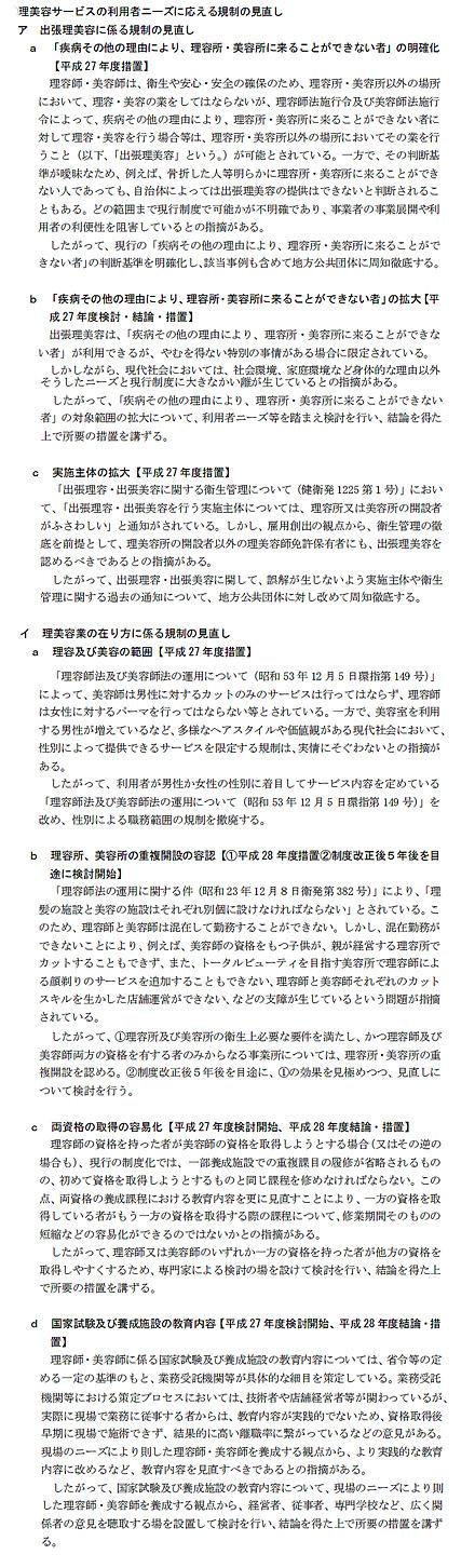 規制改革会議の第三次答申に盛込まれた理美容関係の項目(第三次答申より)