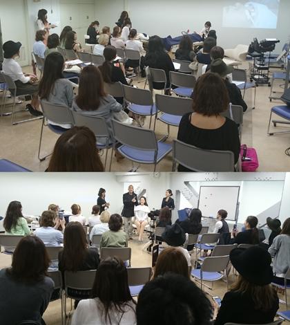 アイビューティシャンによるまつ毛エクステの実演(上)とAKIRA講師のメイクセミナー(会場は美容会館2階)