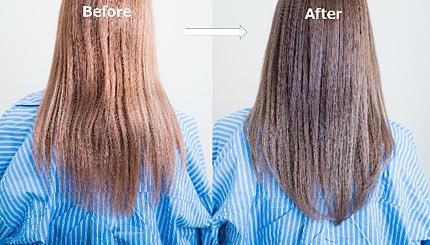 淡い色味のカラーを、少ない技術プロセスで表現するヘアカラー技術