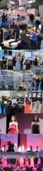 注目を集めたアイラッシュガレージの展示(最上)、医療と美容をテーマにした展示、ネイルの人気は相変わらず。下の3点はABAのヘアショー・プレミアムステージ1より(いづれも2月6日撮影)