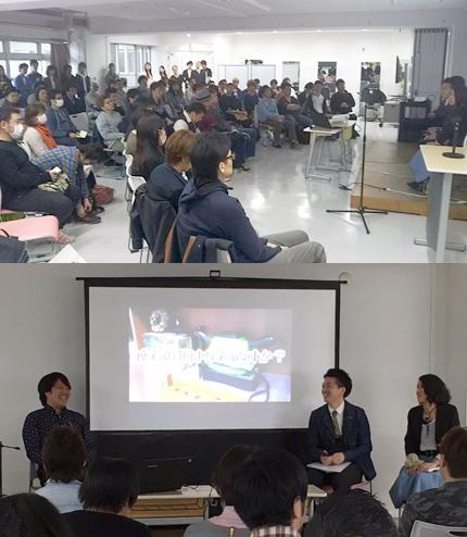 4月10日の理容師カフェ。講師を務めた(左から)池野孝太郎代表、大峰快友店長、曲渕友美さん