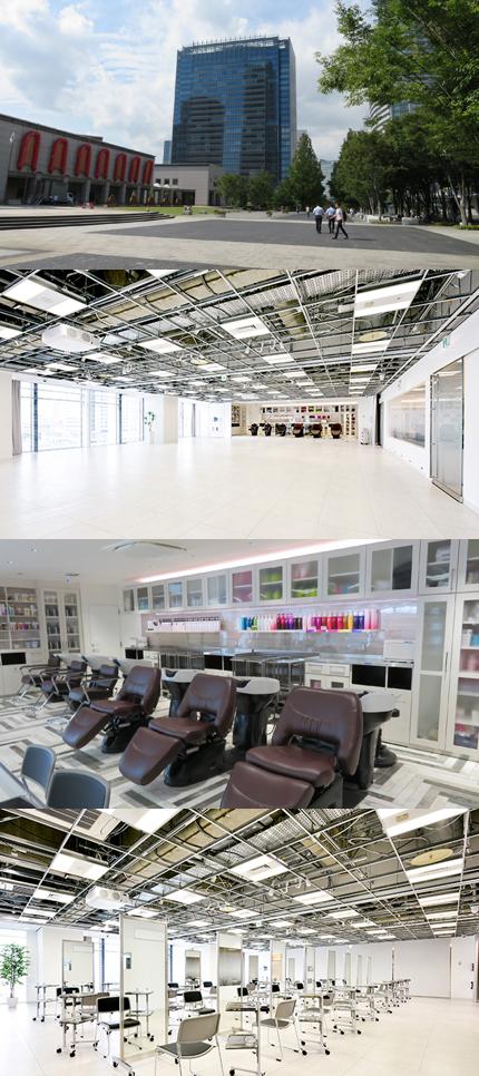 上・新横浜美術館(左)の並びにある「みなとみらいグランドセントラルタワー」、この6階にミルボン横浜スタジオがある。下の3枚はスタジオ写真