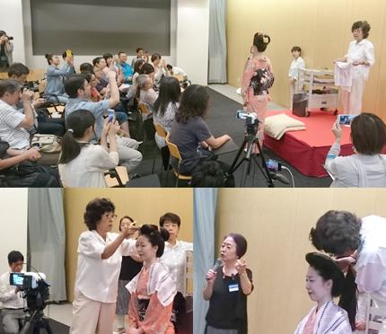 日本髪を結うデモンストレーションイベント。下左は、銀杏返しを結う林照乃さん。下右は、二〇三高地髷を結う林さんと解説する村田孝子ポーラ文化研究所シニア研究員(会場は、ポーラ美術館)