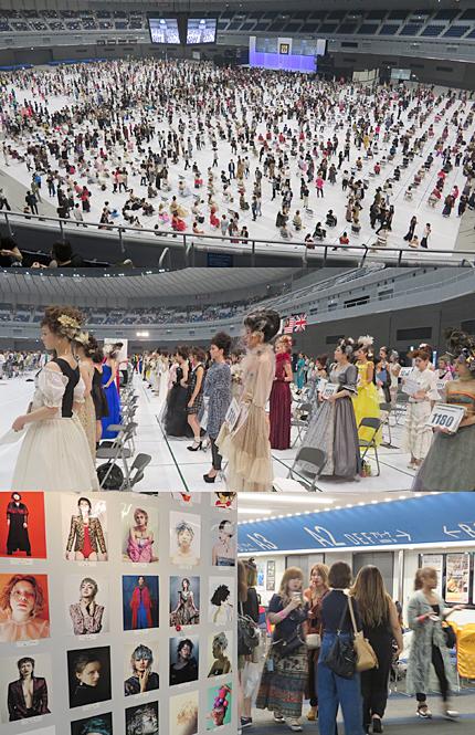 同時開催されたUNITED DANKS CONTEST 15とBeauty Hairdressing Award 11。写真は審査・作品観覧タイムの模様。下・左は2階ロビーに掲出されたフォト作品、下・右は賑わう就職フェアのブース