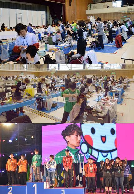 理容職種・美容職種の競技会場風景と理容職種で金賞を受賞した、地元・栃木の田中貴文選手
